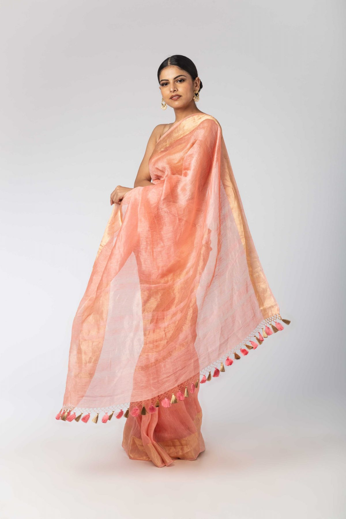 5afa6935fe3325 Peach Linen Gold Border Sari. Peachish pink georgette saree with threadwork  and pearl ...