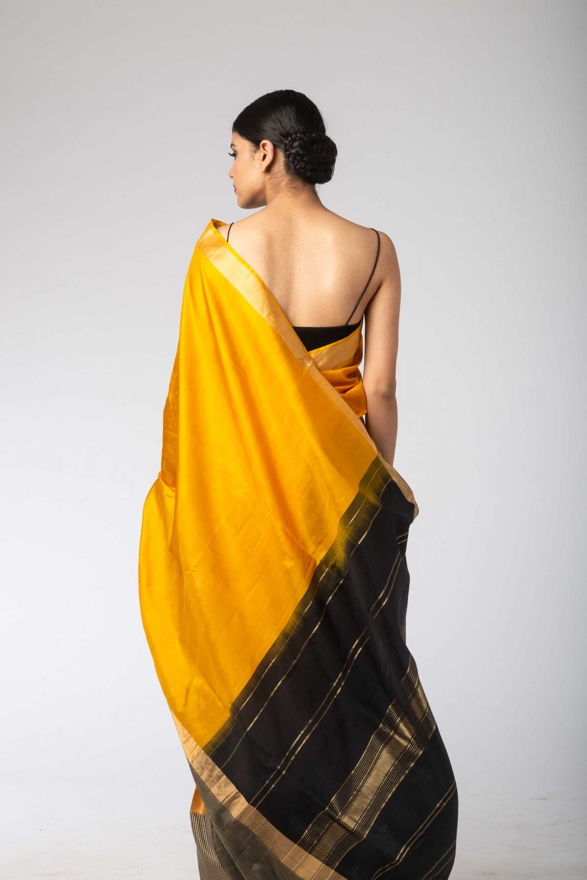 ae57096c Yellow Black & White Chex Silk Sari With Unstitched Blouse – Sagar ...