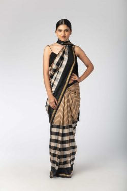 61c433f8 Black Ivory Chex Ikat Silk Sari With Unstitched Blouse